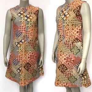 Vintage Folk Hippie Mod Multicolor Mini Dress